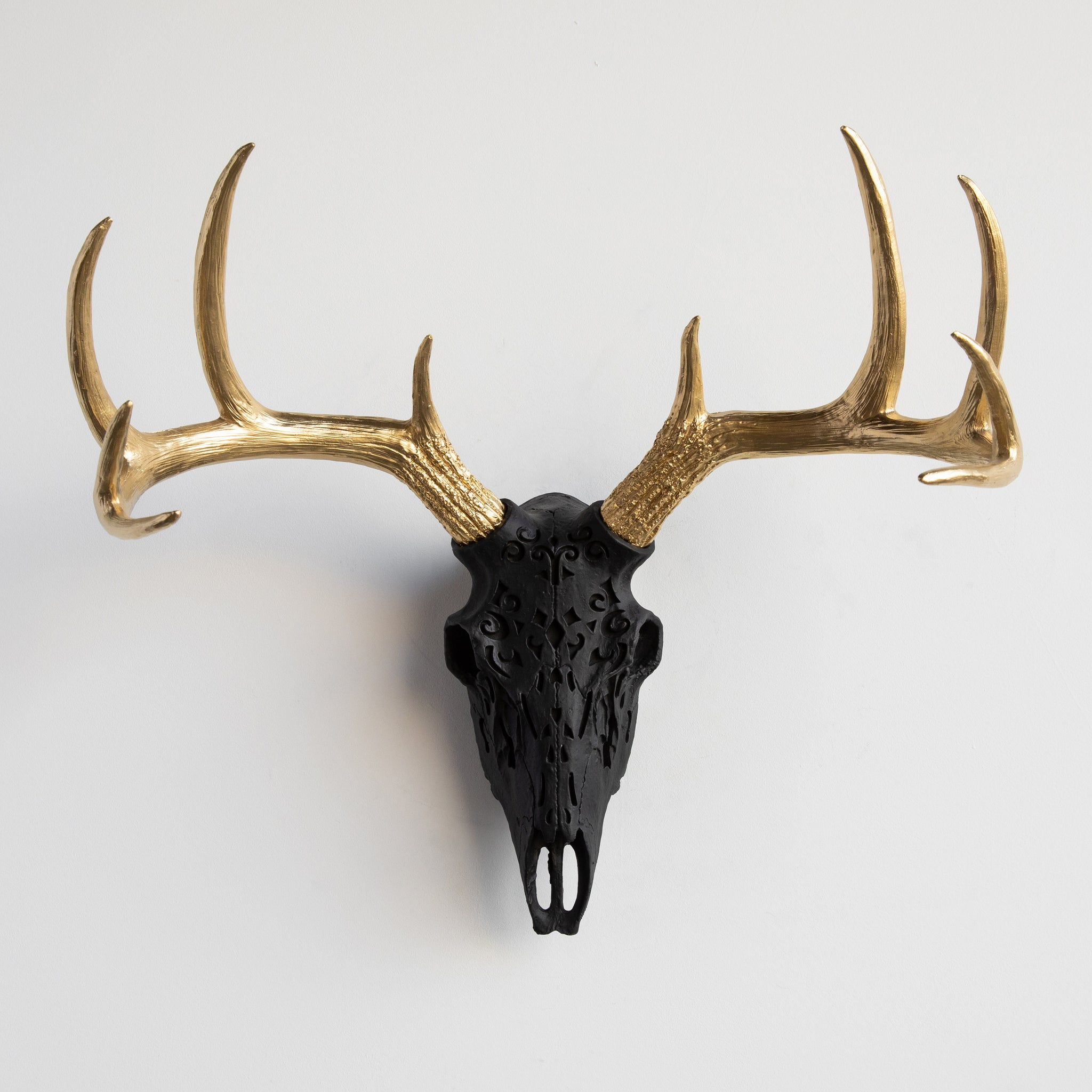 Decorative Faux Carved Deer Skull // Black and Gold