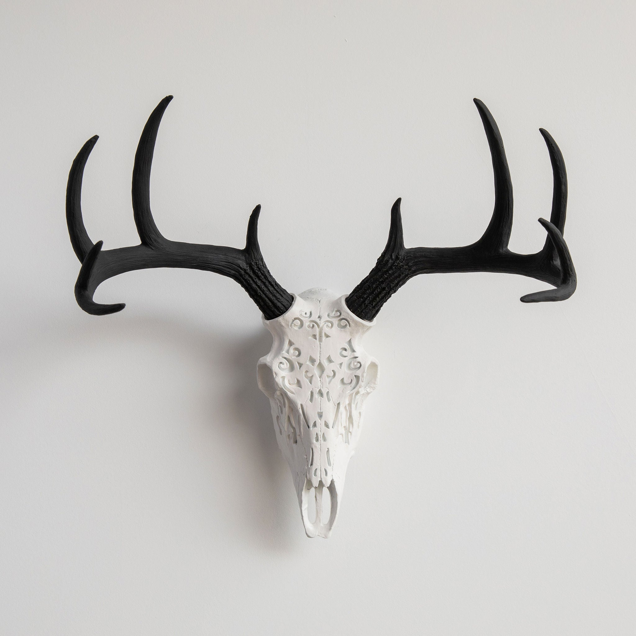 Decorative Faux Carved Deer Skull // White and Black