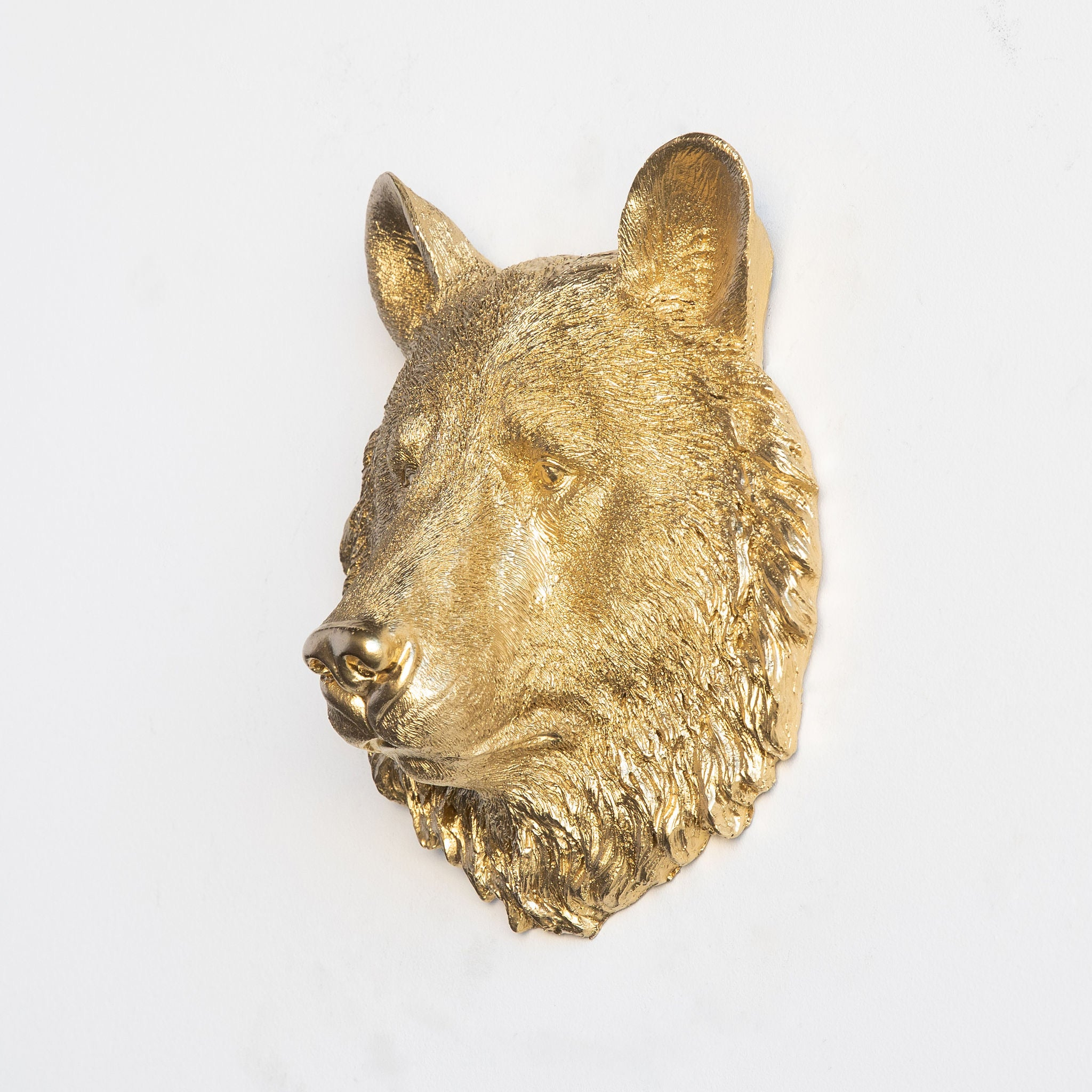 Faux Small Bear Head Wall Mount // Gold
