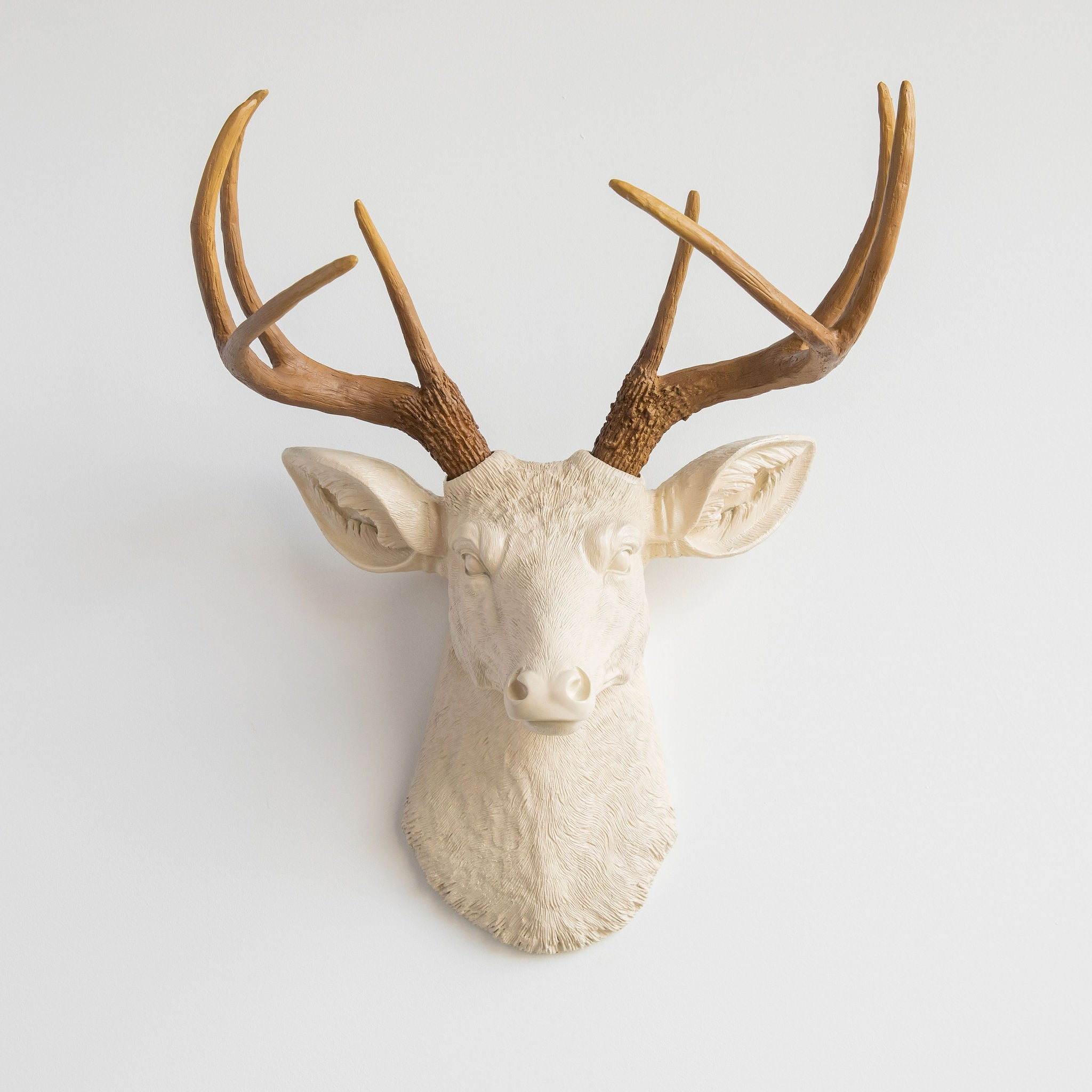 Faux Deer Head Wall Mount // Ivory and Natural