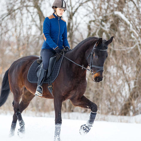 Young rider girl on bay horse walking on snowy field in winter