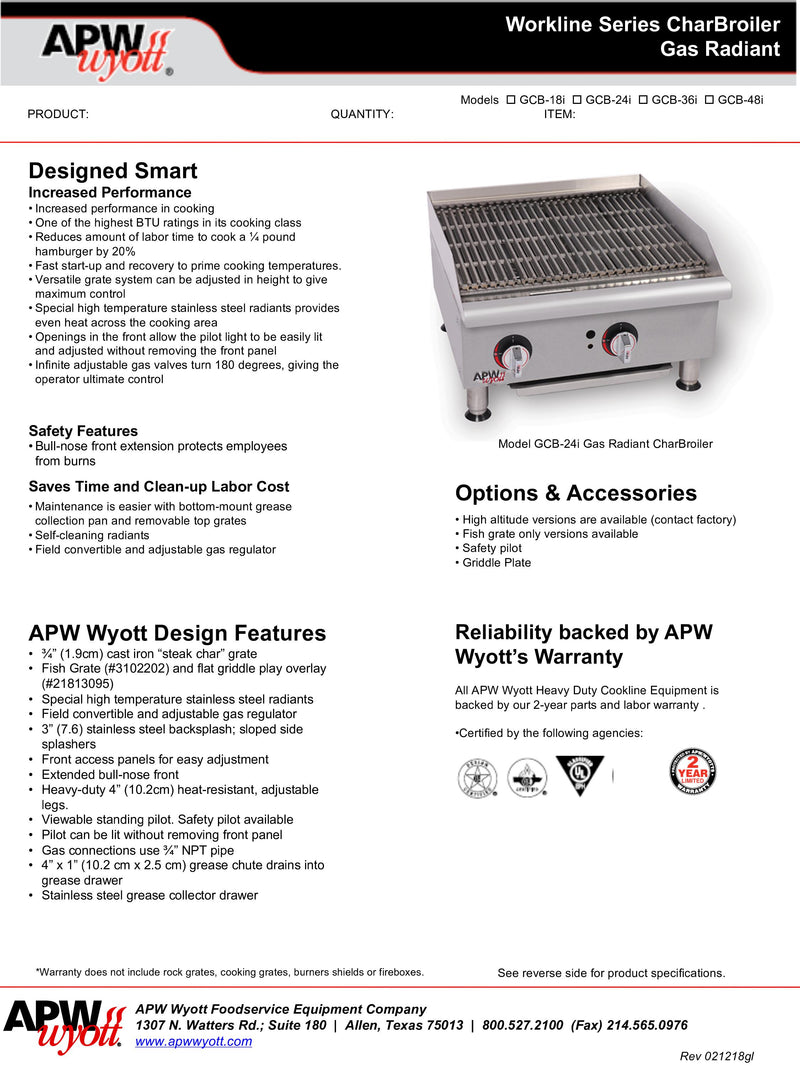 APW Charbroiler - GCB-48I