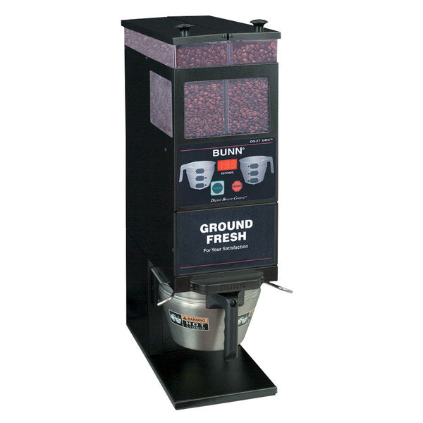 Bunn 33700.0001 BrewWISE G9-2T DBC Black Double Hopper Portion Control Coffee Grinder - 120V