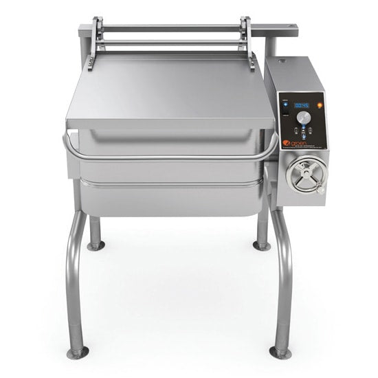 Groen BPM-30GC 30 gal. Tilt Skillet - Open Leg Base, Polished Pan, Measurement Marks