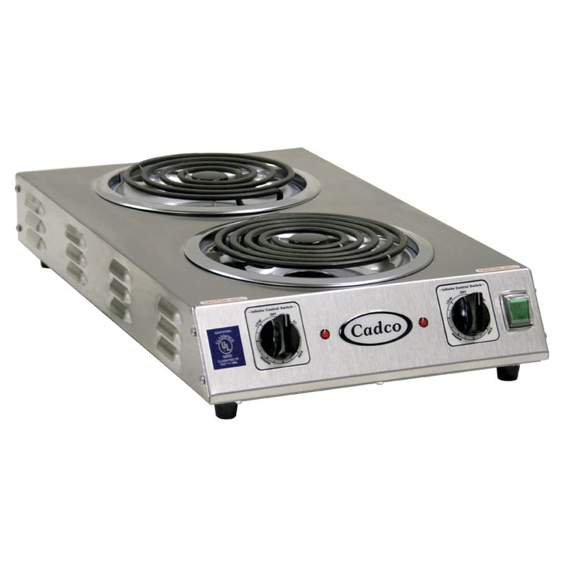 "Cadco CDR-2TFB 13 1/2"" Electric Hotplate w/ (2) Burners & Infinite Controls, 220v/1ph"