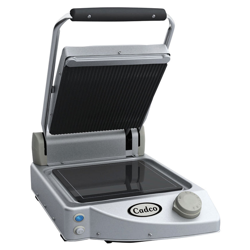 Cadco CPG-10 Single Commercial Panini Press w/ Ceramic Grooved & Smooth Plates, 120v