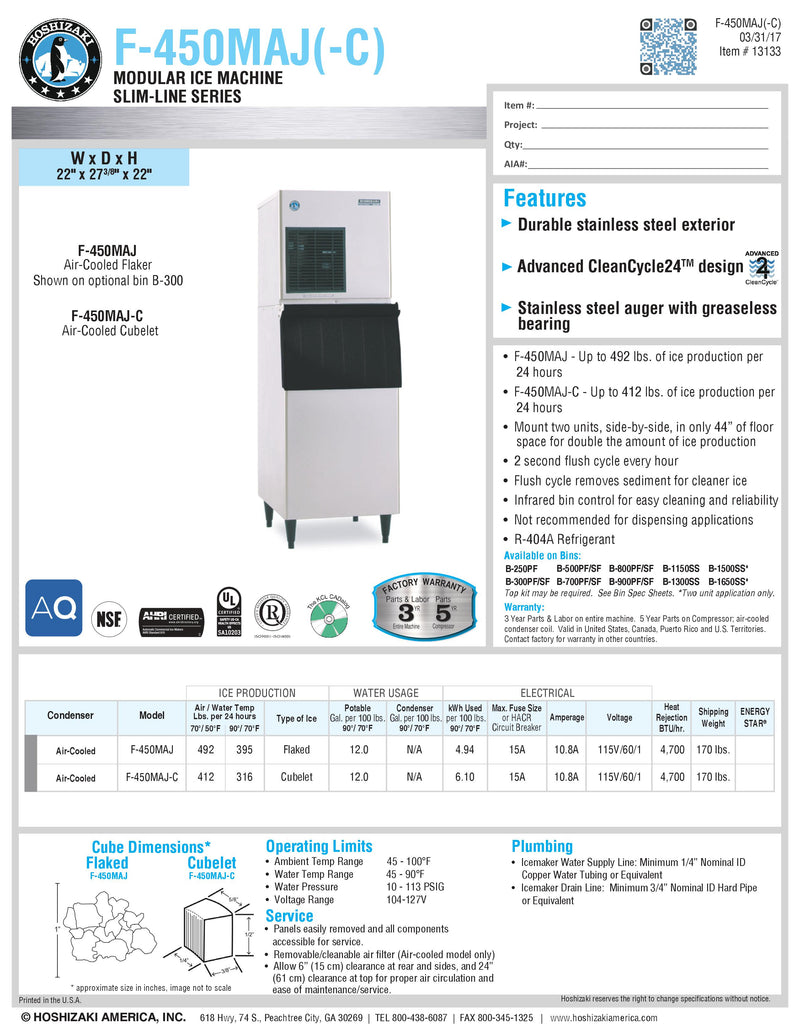 Hoshizaki Flake Ice Maker Head Only - 492lbs per day - F-450MAJ