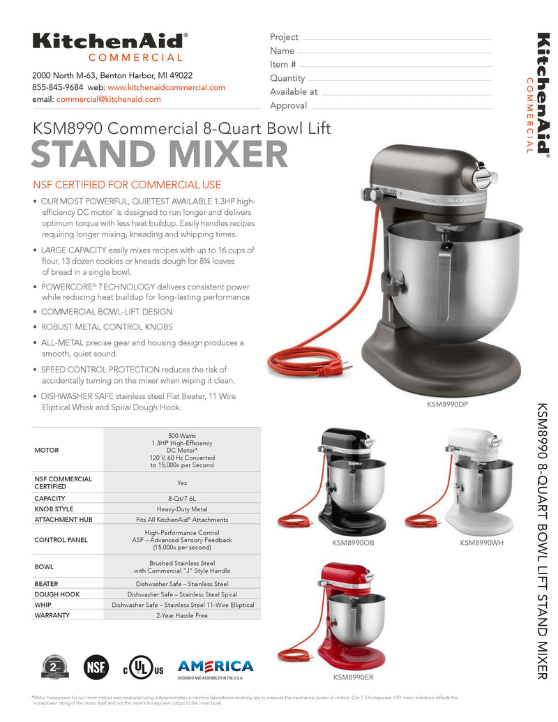 KitchenAid Dark Pewter Commercial Stand Mixer 8 quart - KSM8990DP MADE TO ORDER; LEAD TIME 6-8 WEEKS - Backorder