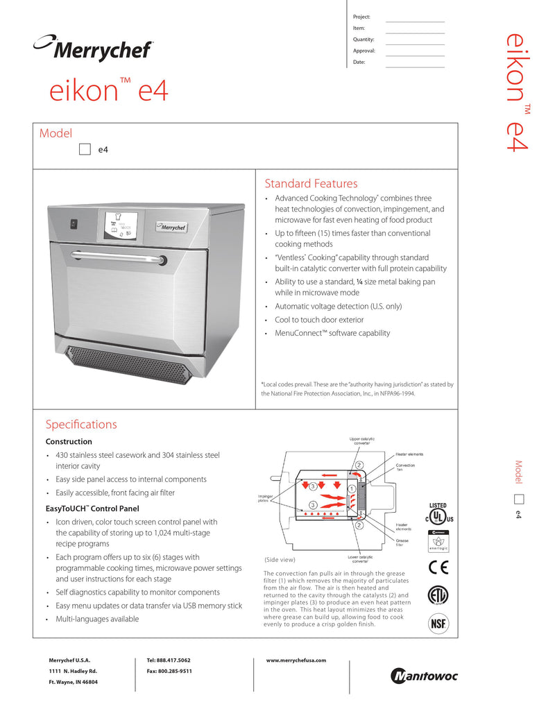 Merrychef Combination Rapid Cook Oven - E4
