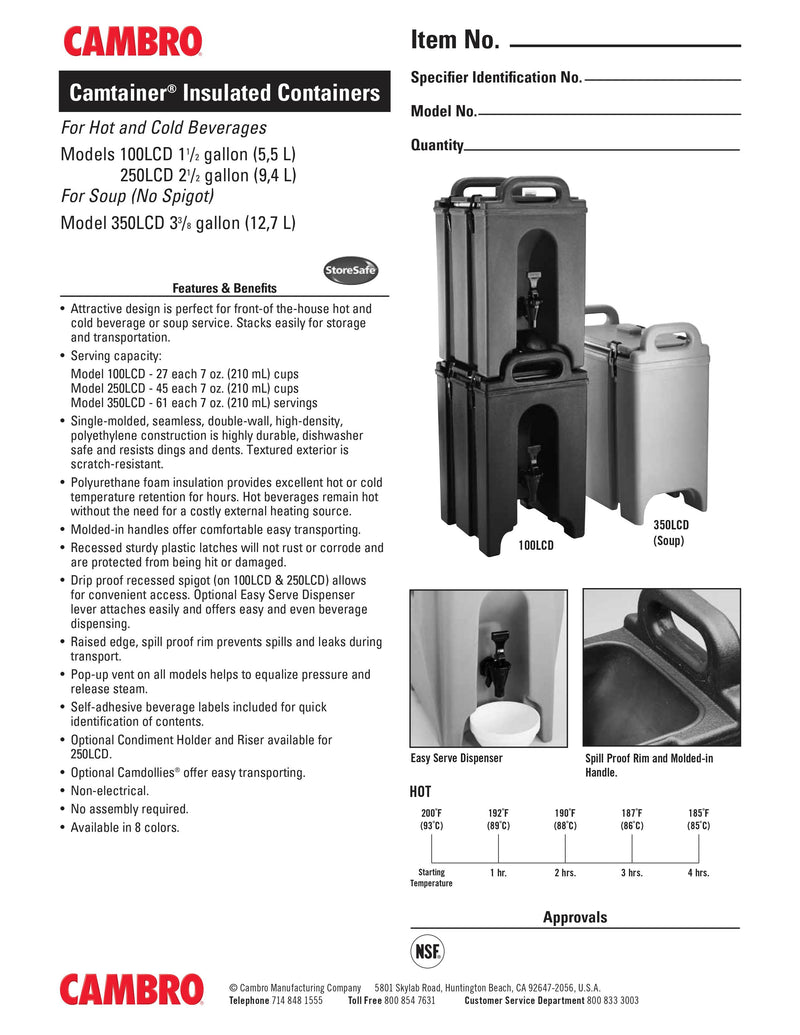 Cambro Insulated Beverage Dispenser - 250LCD131