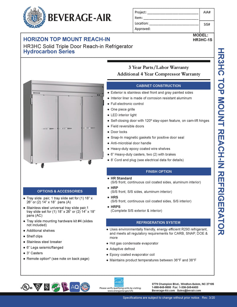 Beverage Air Reach-In Refrigerator - HR3HC-1S