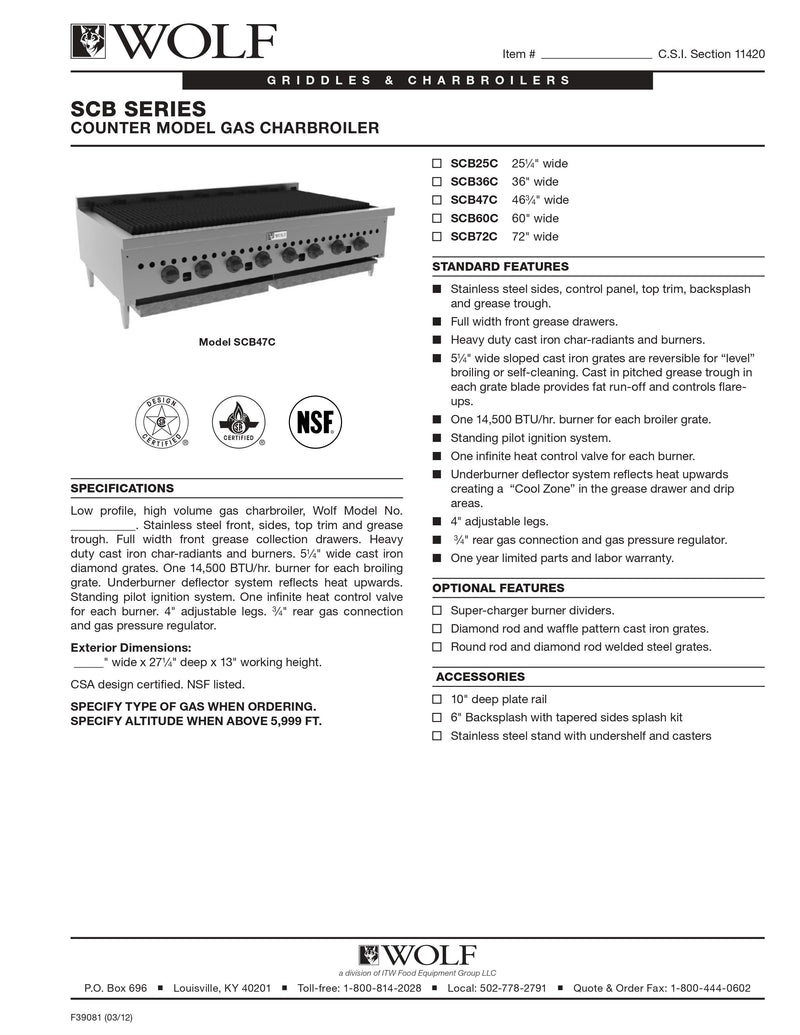 Wolf Countertop Charbroiler - SCB60