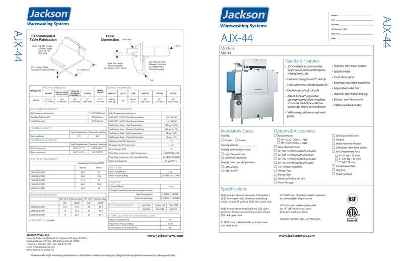 Jackson Dishwasher - Conveyor Type - AJX-44CE