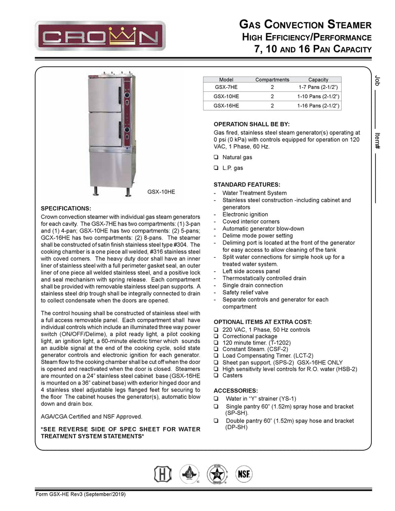 Crown Gas Convection Steamer - GSX-10HE