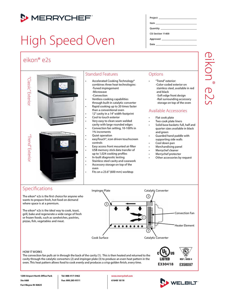 MerryChef Microwave Convection/Impingement Oven - E2S High Classic