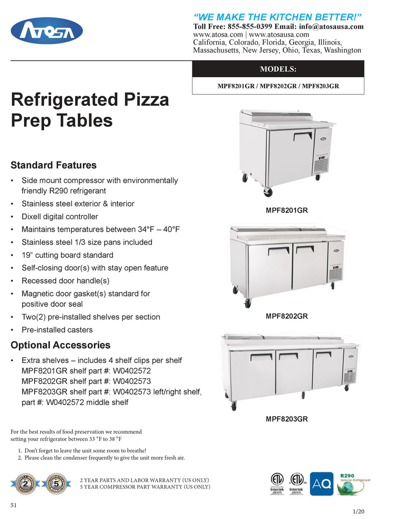 Atosa Refrigerated Counter Pizza Prep Table - MPF8203GR
