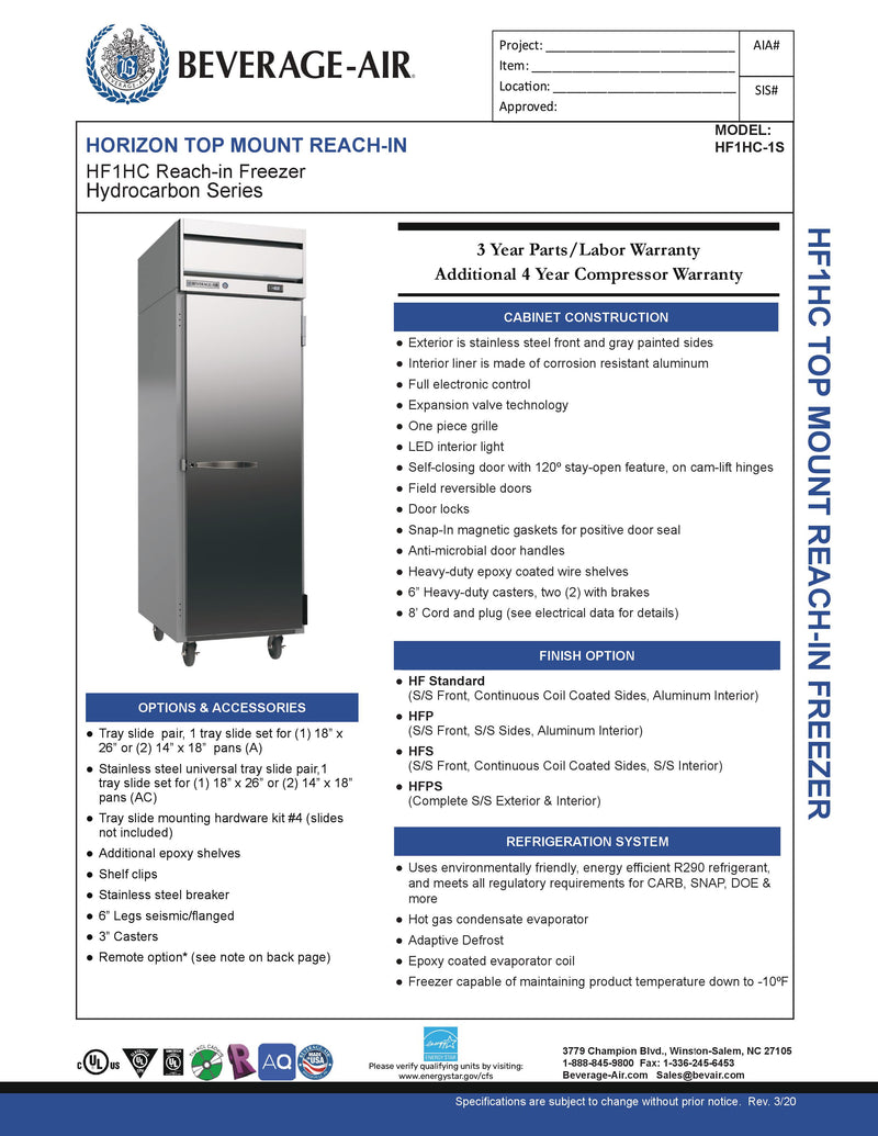 Beverage Air Reach-In Freezer - HF1HC-1S
