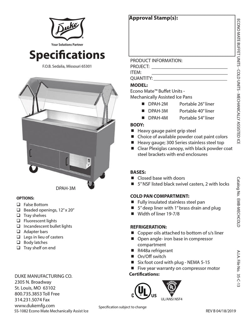 Duke Serving Counter - Cold Food - DPAH-3M