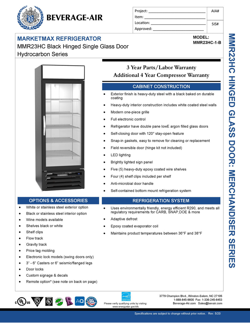 Beverage Air Refrigerated Merchandiser - MMR23HC-1-B
