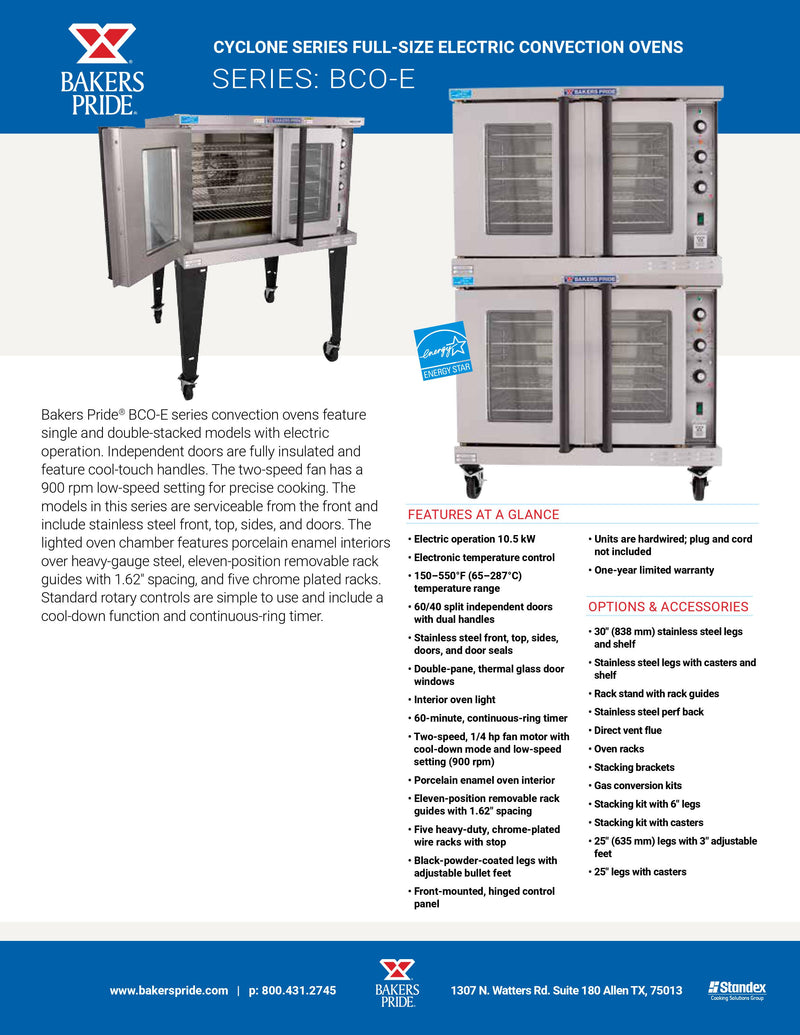 Bakers Pride Electric Convection Oven - BCO-E2