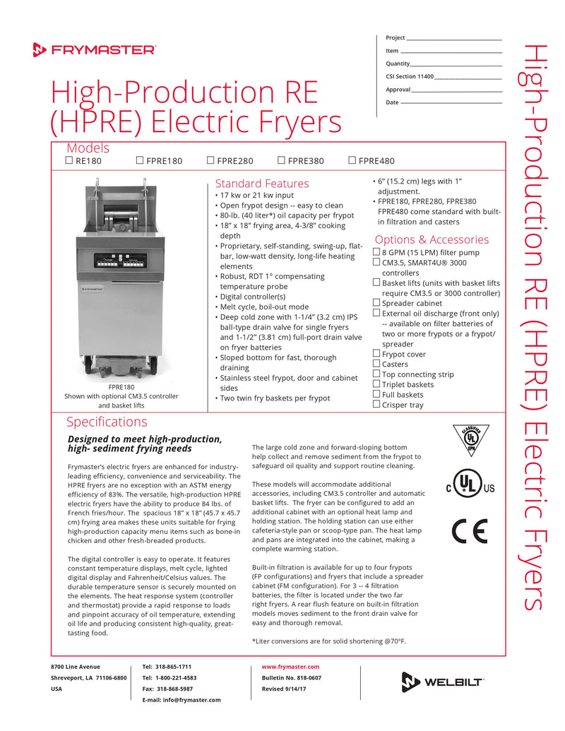 Frymaster High-Production Electric Fryer - 17KW - RE180-17