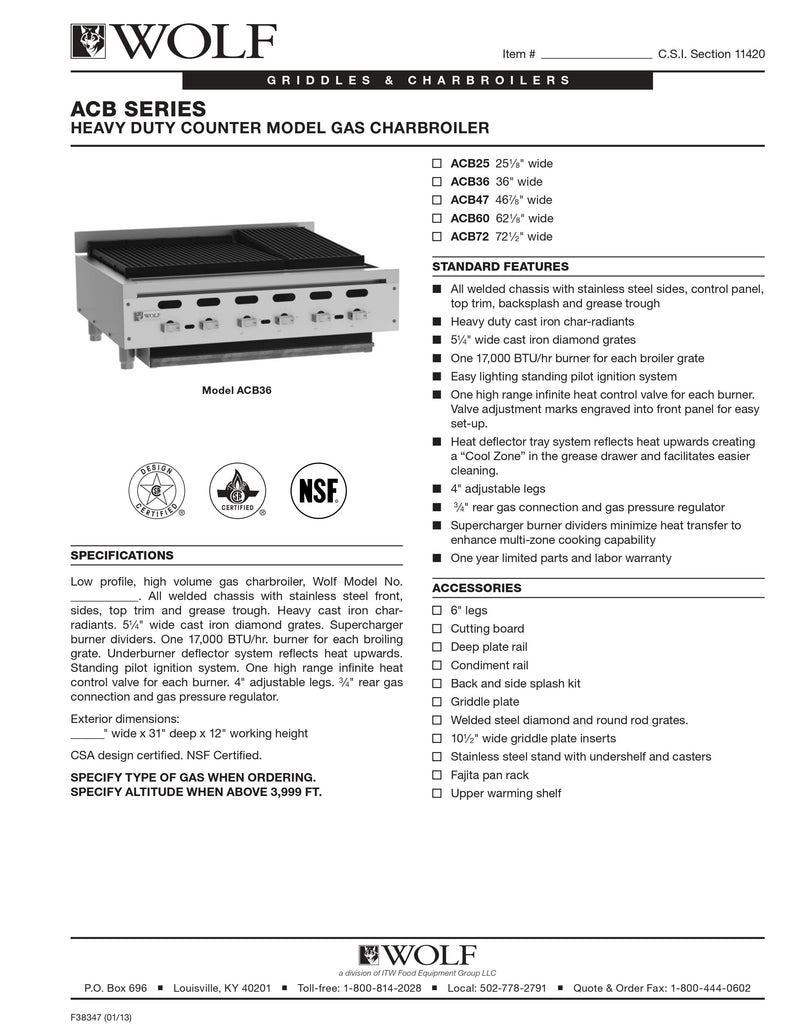 Wolf Countertop Charbroiler - ACB60