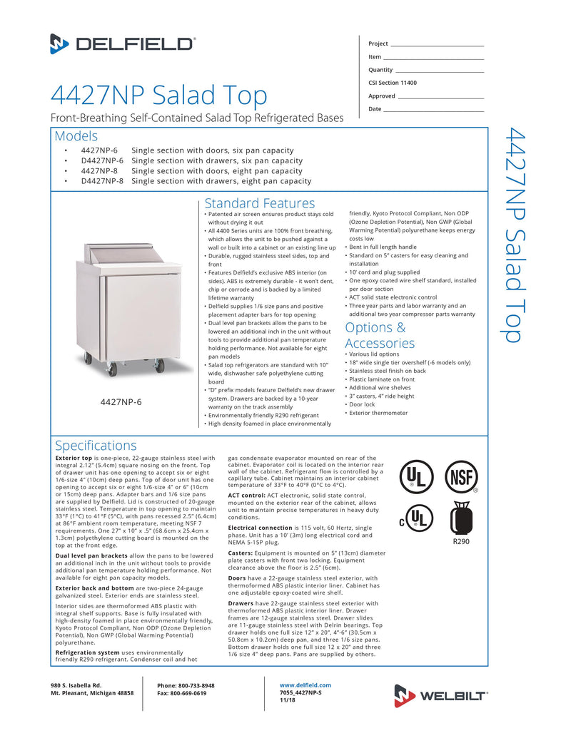 Delfield Refrigerated Counter, Sandwich/Salad Unit - 4427NP-6