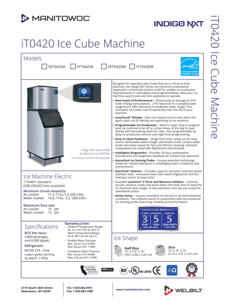 Manitowoc Ice Machine - 470 Lbs. Per Day - IDT0420A