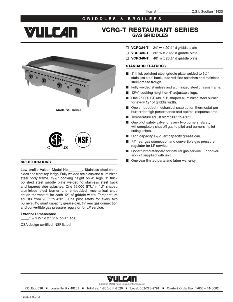 Vulcan Gas Griddle - VCRG24-T
