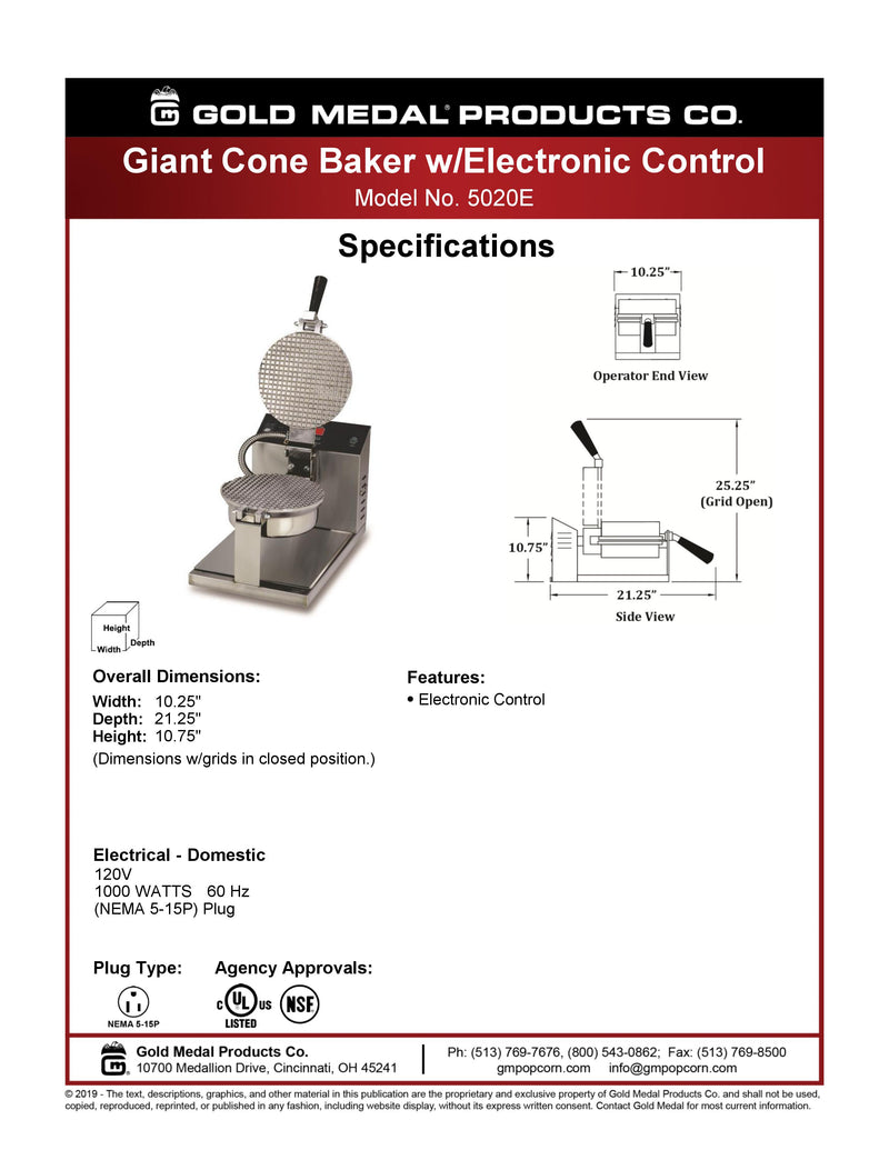"Gold Medal Cone Baker w/Digital Controls - 8"" - 5020E"
