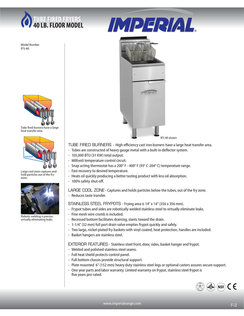 Imperial Gas Floor Fryer - IFS-40