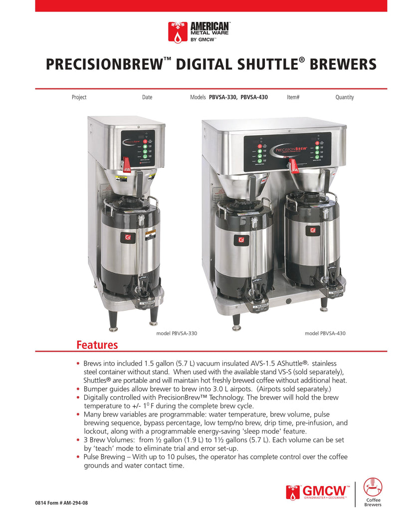 Grindmaster Coffee Brewer - PBVSA-430