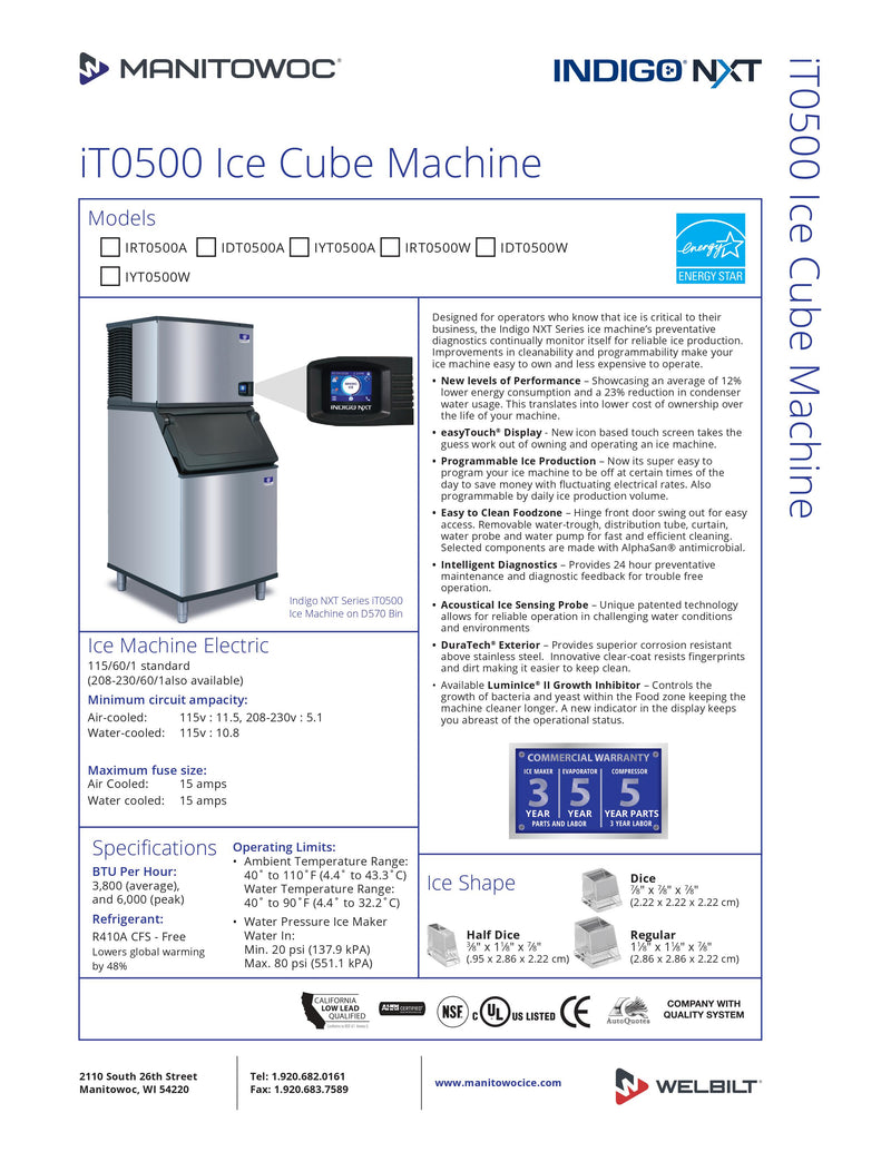Manitowoc Ice Cuber - 550lbs per day - IYT-0500A