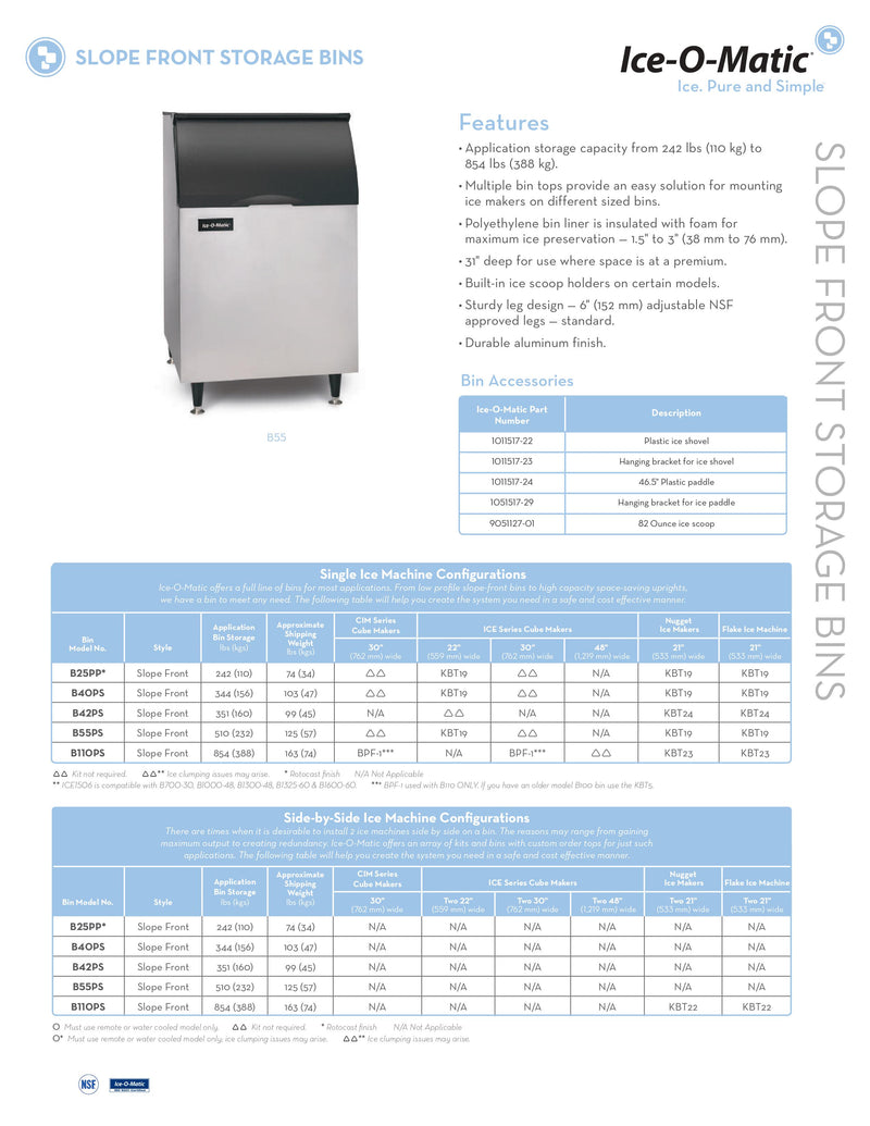 Ice-O-Matic Ice Bin - 510lbs Capacity - B55PS