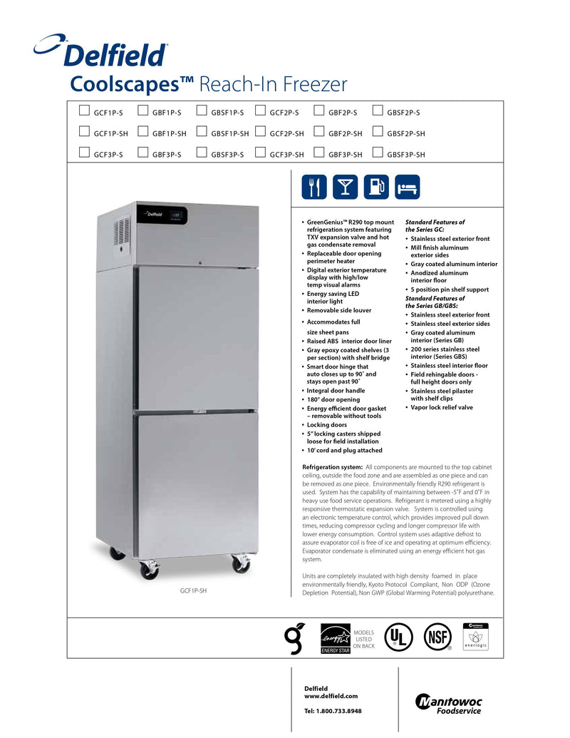 Delfield Reach-In Freezer - GBF3P-S