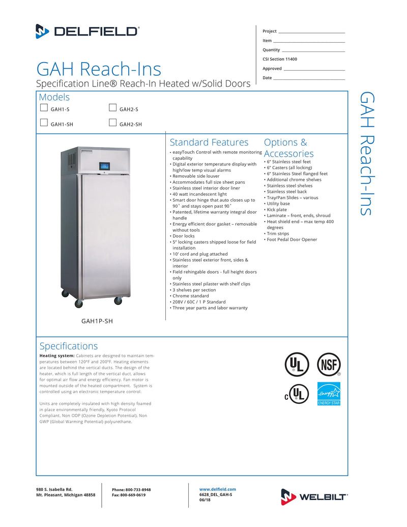 Delfield Reach-In Heated Cabinet - GAH2-S