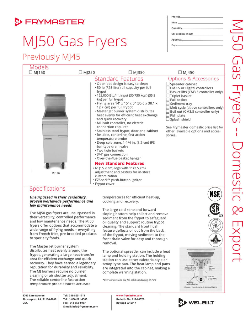 Frymaster Full Pot Fryer - Floor Style - MJ150