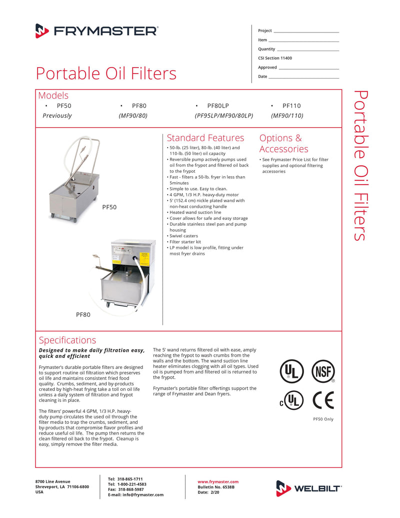 Frymaster Portable Fryer Filter - PF80