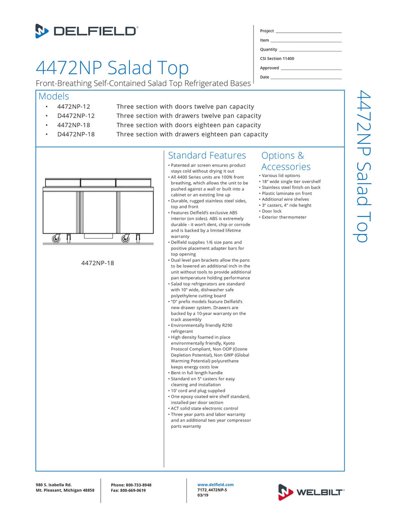 Delfield Refrigerated Counter, Sandwich/ Salad Unit - 4472NP-18