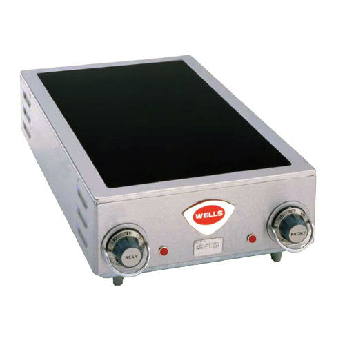 "Wells HC-225 14 3/4"" Electric Countertop Ceramic Two Burner Hot Plate - 5000W"