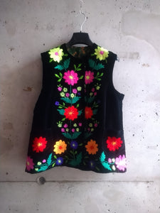 Hand embroidered velvet vest