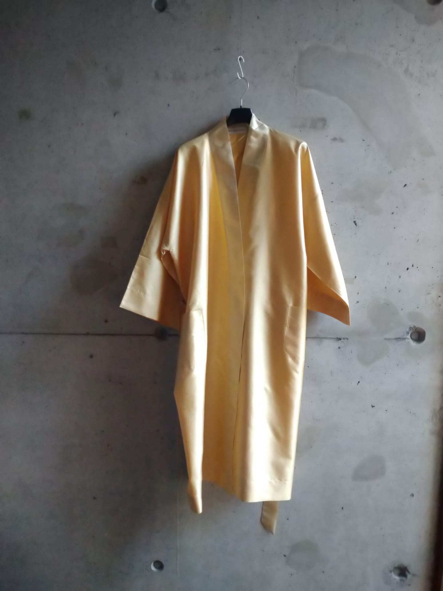Light yellow silk dressing gown