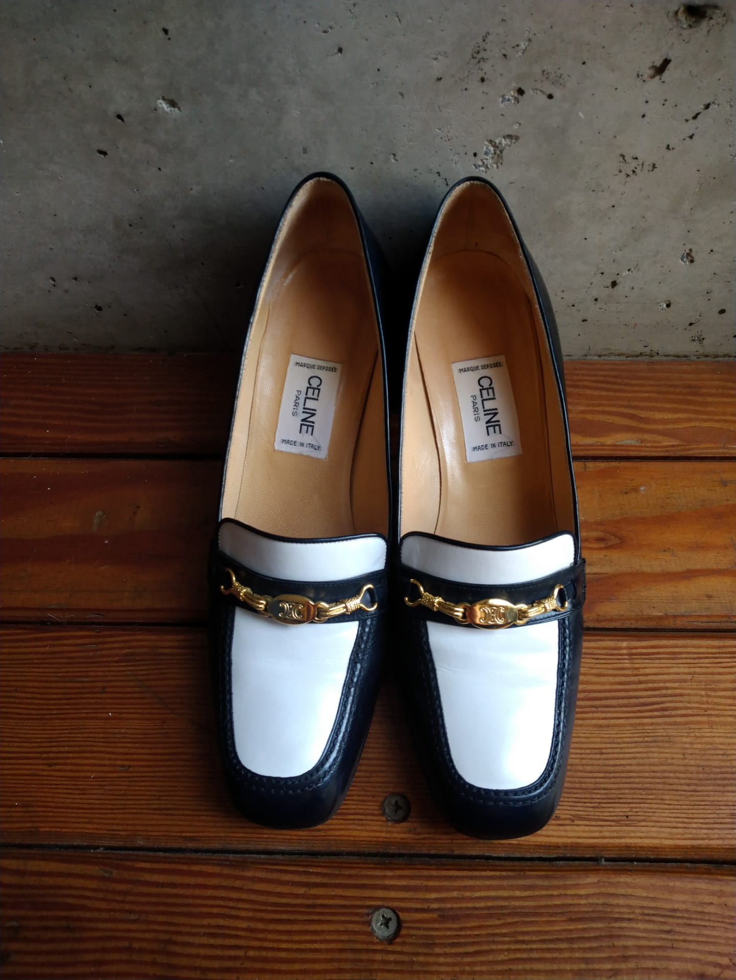 Celine navy blue moccassins