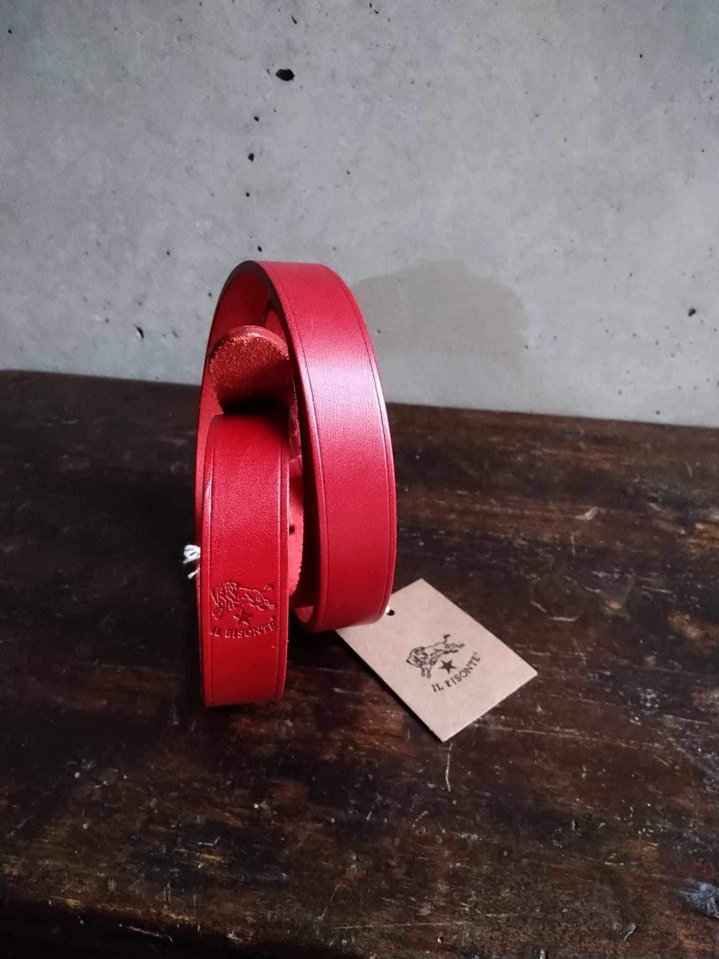 Il bisonte red thin belt