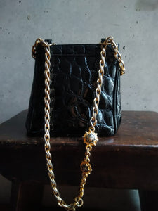 Gianni Versace croco stamped leather handbag