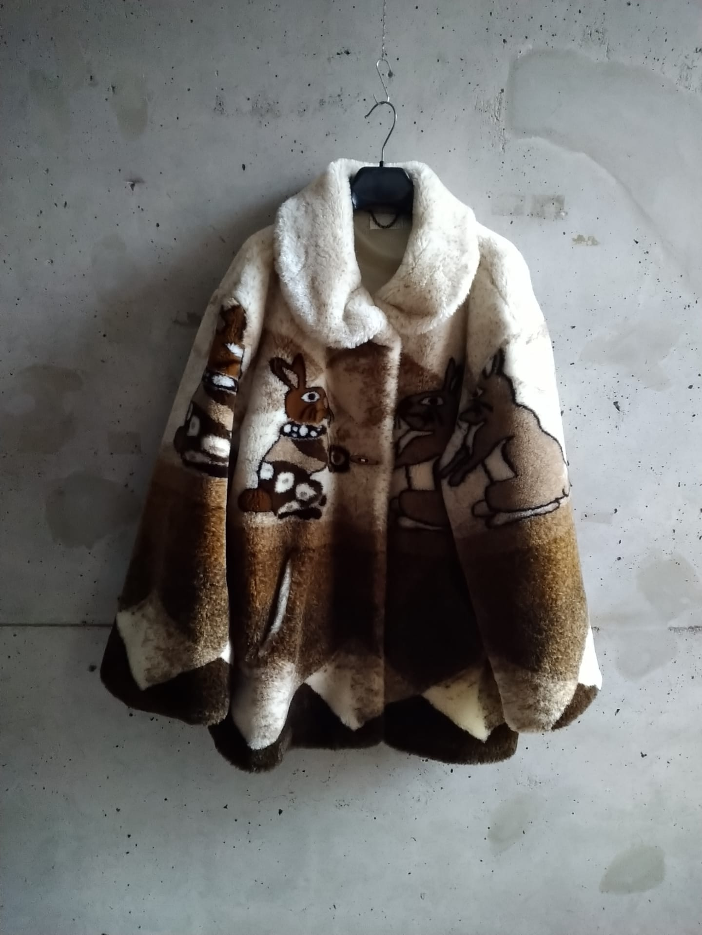 80es faux fur coat with rabbit print