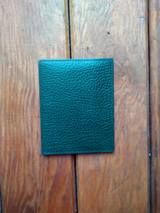 Green grained leather card holder