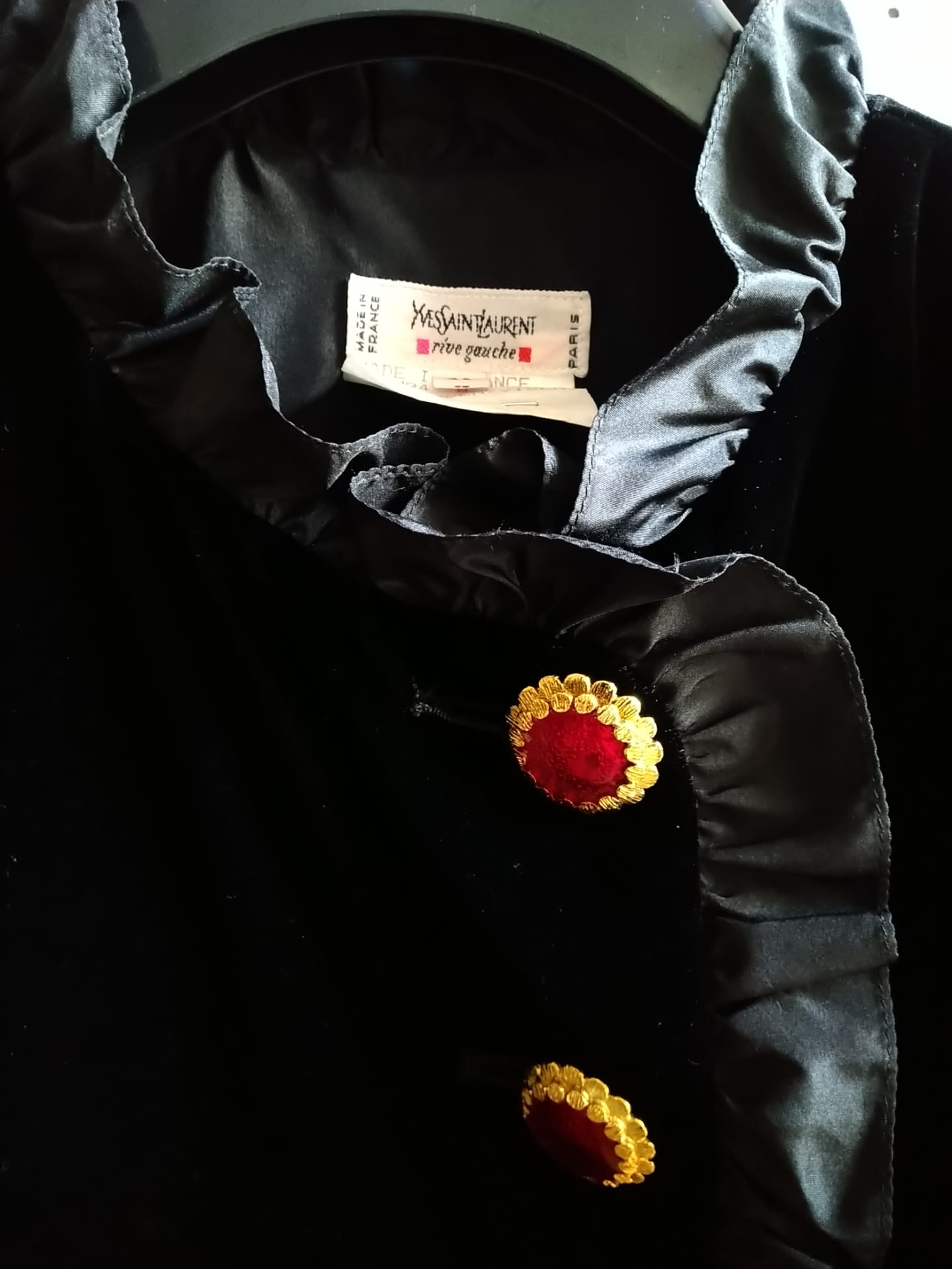 Yves Saint Laurent velvet jacket with red jewelry buttons