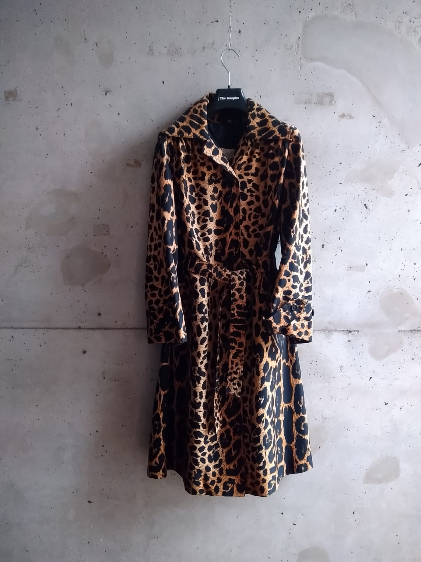 Panther print cotton trenchcoat