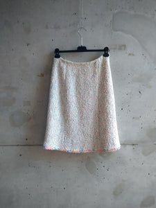 Chanel white skirt with paint splash effect